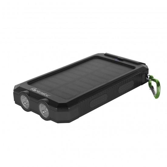 Solar Power Bank Ksora 8.0 8000mAh schwarz 2 x USB-A, LED Licht, Karabinerhaken, Kompass