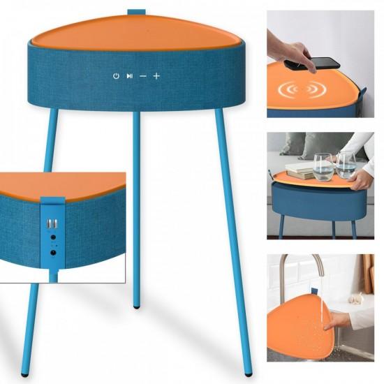 Drahtloser Lautsprecher Mesu Tisch Design TWS blau Raumfüllender Klang, Tischplatte induktives Laden