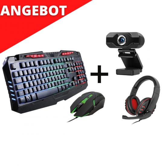 Gaming-Set Tastatur inkl. Maus + Headset + Webcam