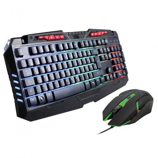 Gaming Tastatur & Maus Set, Sprex schwarz ergonomisches Design, 10 Hotkeys, Beleuchtet