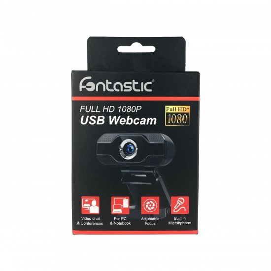 Webcam 1080P Full HD mit eingebautem Mikrofon 2K, USB-A Plug & Play, Objektivabdeckung, schwarz