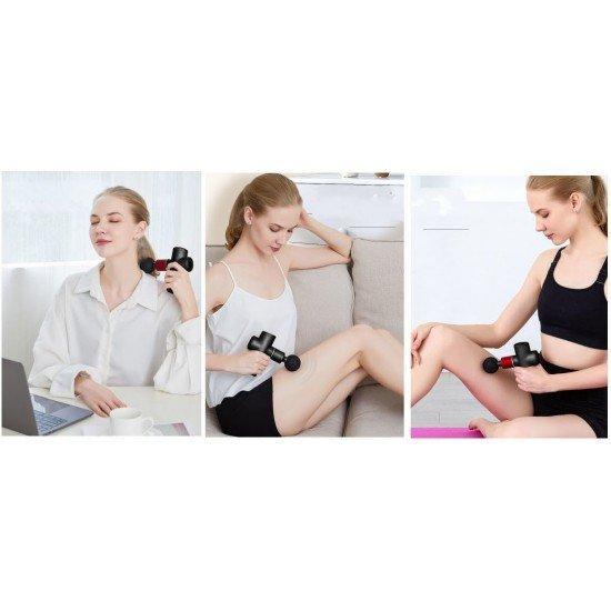 Vibrationsmassagegerät / Massage Gun Shima 4 Massage-Aufsätze, schwarz / rot