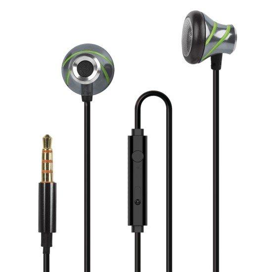 In-Ear Stereo-Headset V410 3.5mm anthrazit/grün Alu-Gehäuse, Volume- und Rufannahme-Taste,Mikrofon