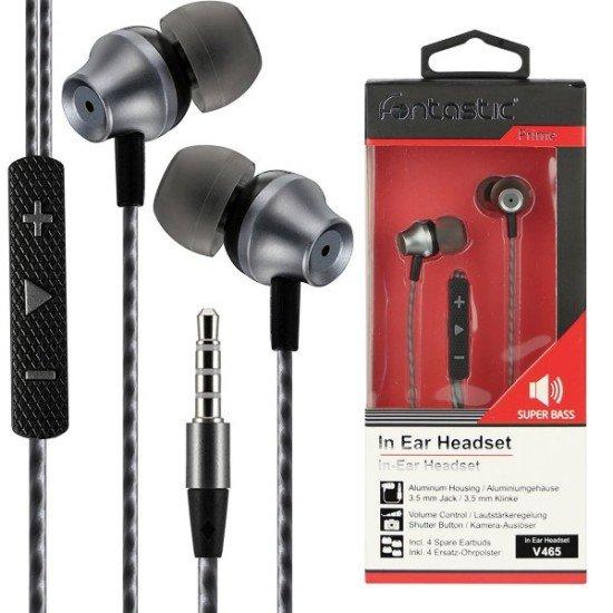 In-Ear Stereo-Headset V465 3.5mm sw/anthrazit 3-Tasten-Fernbedienung, Mic, 3-Paar Ohrpasstücke