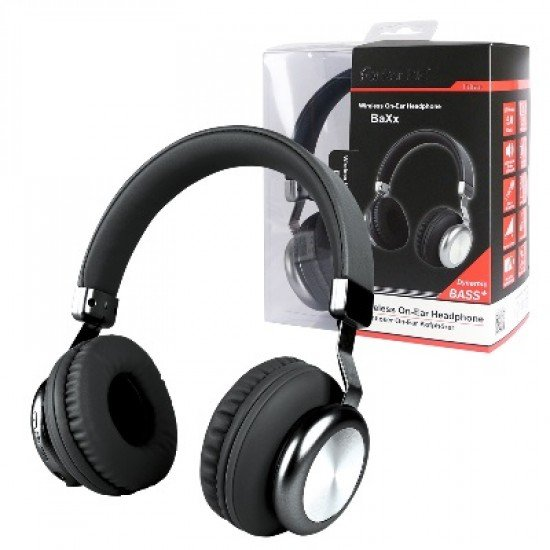 Drahtloser On-Ear Kopfhörer BaXx Schwarz/Silber BT + Line-In, Bass+, Mikrofone, Volume-Control