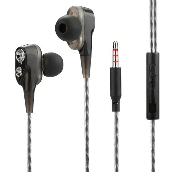 In-Ear Headset Duett, 2 hochauflösende Treiber sw 3-Tasten-Fernbedienung, Mic, 3-Paar Ohrpasstücke