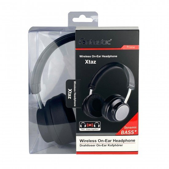 Drahtloser On-Ear Kopfhörer Xtaz Schwarz/Grau BT + Line-In, Bass+, Mikrofone, Volume-Control