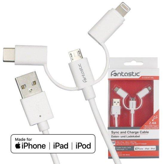 Essential Data Cable Trio 1m white