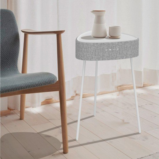 Drahtloser Lautsprecher Mesu Tisch Design TWS ws Raumfüllender Klang, Tischplatte induktives Laden