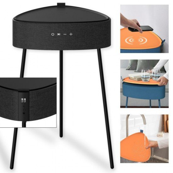 Drahtloser Lautsprecher Mesu Tisch Design TWS sw Raumfüllender Klang, Tischplatte induktives Laden