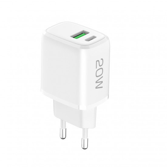 AC Charger Ovin, USB-A FC3 + Type-C PD20W white