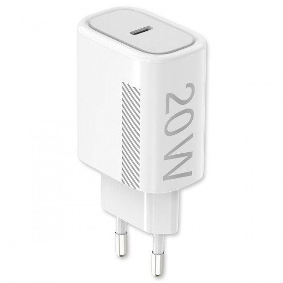 AC Charger Novac USB Type-C PD 20W white Power Delivery compatible with Apple iPhone 12