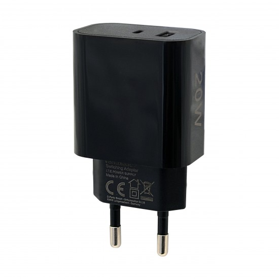 Netzteil Fort22 Type-C PD + USB-A FC3 20W schwarz Power Delivery, Fast Charge 3, max.3A