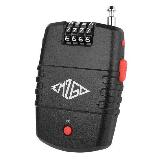 4 Stelliges Kombinations- Kabelschloss mit Alarm bis zu 10.000 Kombinationen, 90dB Sirene, schwarz