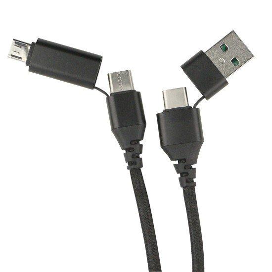 Data Cable Quattro Type-C -Type-C 1.2m + Adapt sw